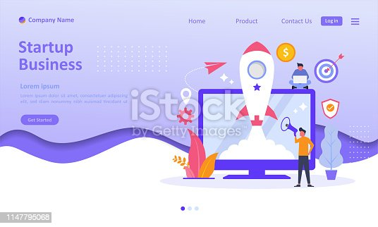 Business Startup launch concept with rocket icon on screen. People character. Suitable for web landing page, ui, mobile app, banner template. Vector Illustration
