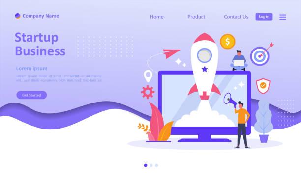 stockillustraties, clipart, cartoons en iconen met business startup lanceren concept met raket icoon op het scherm. mensen karakter. geschikt voor web landing page, ui, mobiele app, banner sjabloon. vector illustratie - land