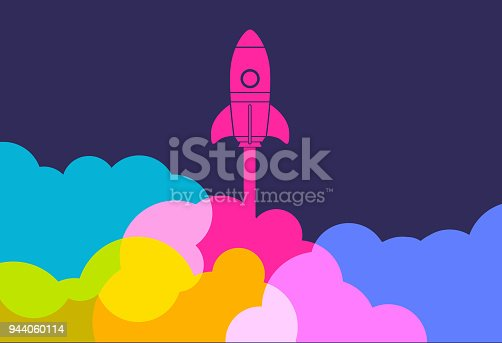 Colourful silhouettes of rockets to symbolise new business startup launch
