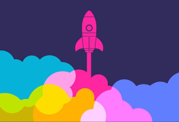business startup launch rocket - anfang stock-grafiken, -clipart, -cartoons und -symbole