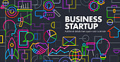 Abstract Geometric business startup  concept template banner