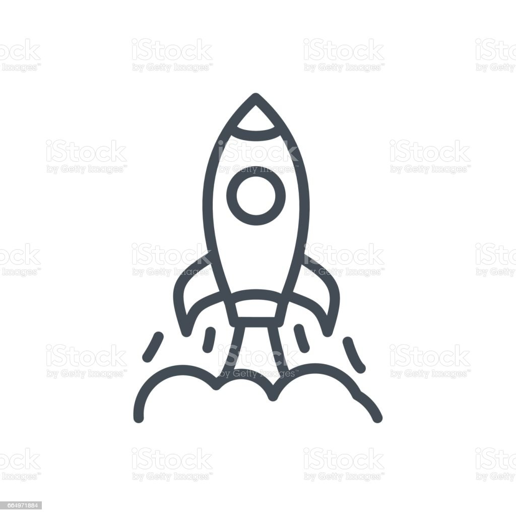 Line Art Rocket : Business startup line icon rocket launch spaceship stock