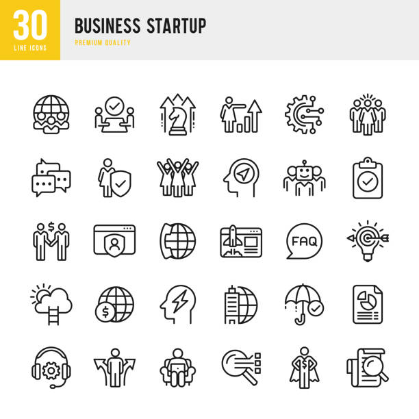 Business Startup - Linienvektor-Symbolsatz – Vektorgrafik