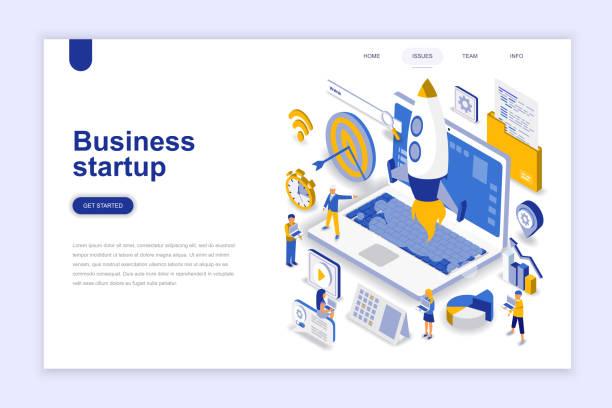 企業啟動現代平面設計的等距概念。 - 新的事業 幅插畫檔、美工圖案、卡通及圖標