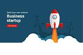 istock Business startup rocket launch flat vector illustration. Startup space design rocketship innovation product 1191743110