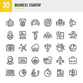 Set of 30 Business Startup line vector icons. Startup, Teamwork, Focus Group, Support, IPO, Cloud Computing, Management, Learning, Office, Awards and so on.