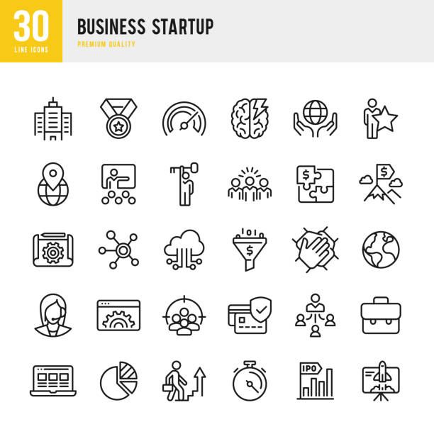 Business Startup - set of line vector icons. Set of 30 Business Startup line vector icons. Startup, Teamwork, Focus Group, Support, IPO, Cloud Computing, Management, Learning, Office, Awards and so on. call centre illustrations stock illustrations
