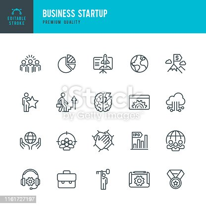 Set of 20 Business Startup thin line vector icons. Achievement, Corporate Business, Brainstorming, Startup, Focus Group, Teamwork, Leadership