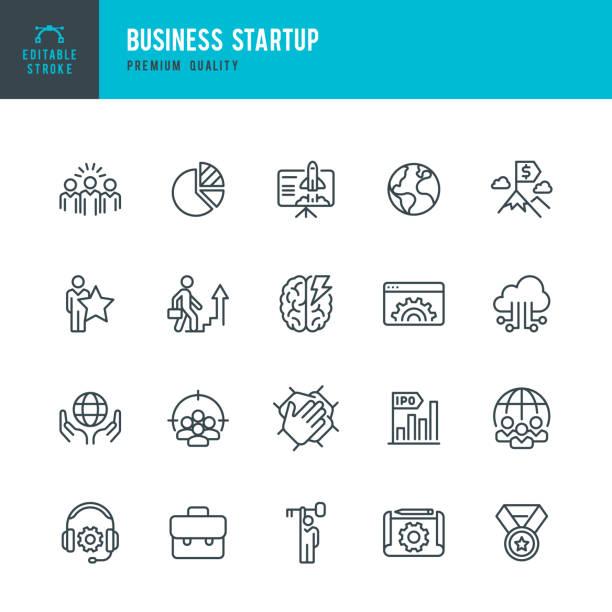Business Startup - Vektorliniensymbolsatz – Vektorgrafik