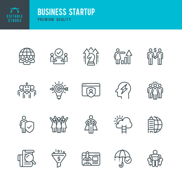 Business Startup - vector line icon set Business Startup - vector line icon set. Achievement, Global business, Brainstorming, Startup, Artificial intelligence, Teamwork, Leadership, Audit, Insurance, Growth strategy, Career publicity event stock illustrations
