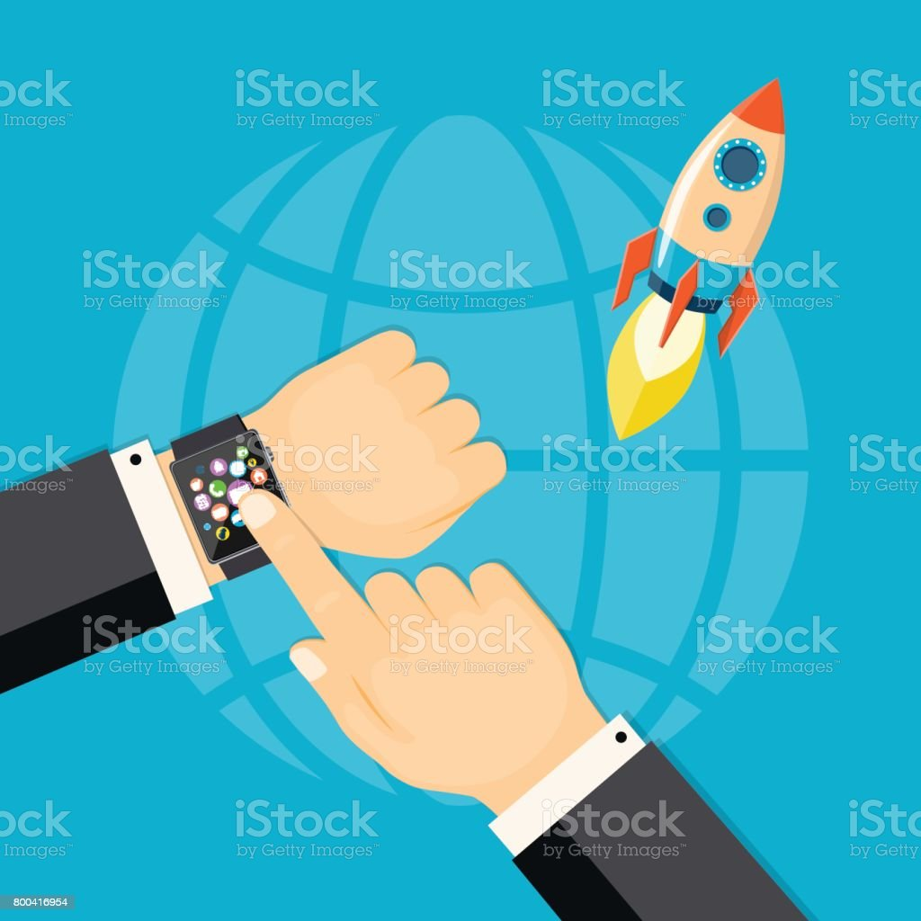 Business Startup With Smart Watch stock vector art 800416954 | iStock