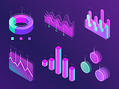Business statistic digital infographic charts. Modern isometric info graph. Perfection percent cyan and purple diagram statistic column panel for website isometric concept 3d on dark purple background