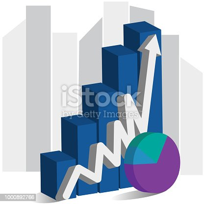 Business statistic rising bar graph arrow symbol 3d vector background  image template
