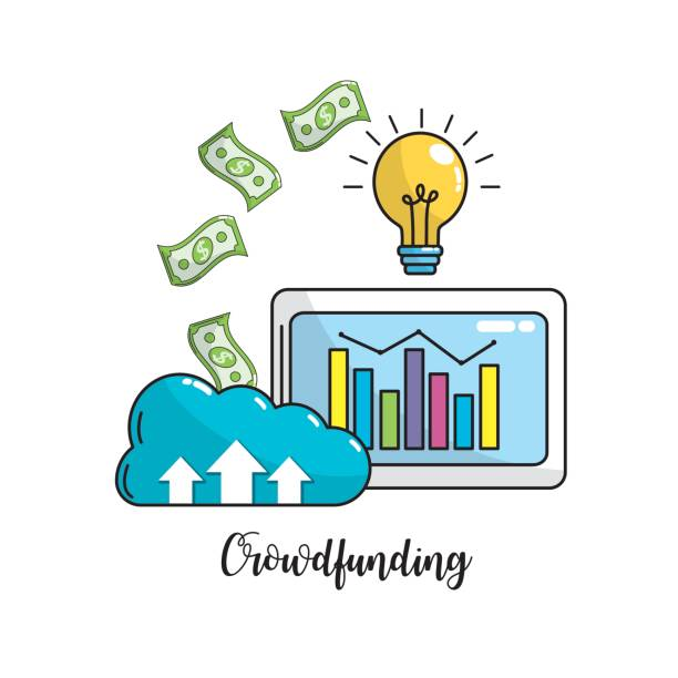 barra de estadísticas de negocios dentro de computadoras y dinero en efectivo dinero - ilustración de arte vectorial
