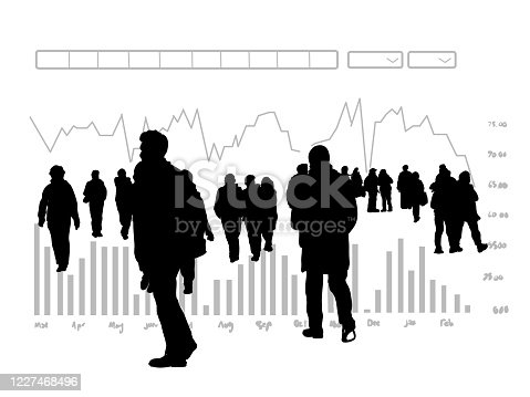 istock Business Stats Background Silhouettes 1227468496