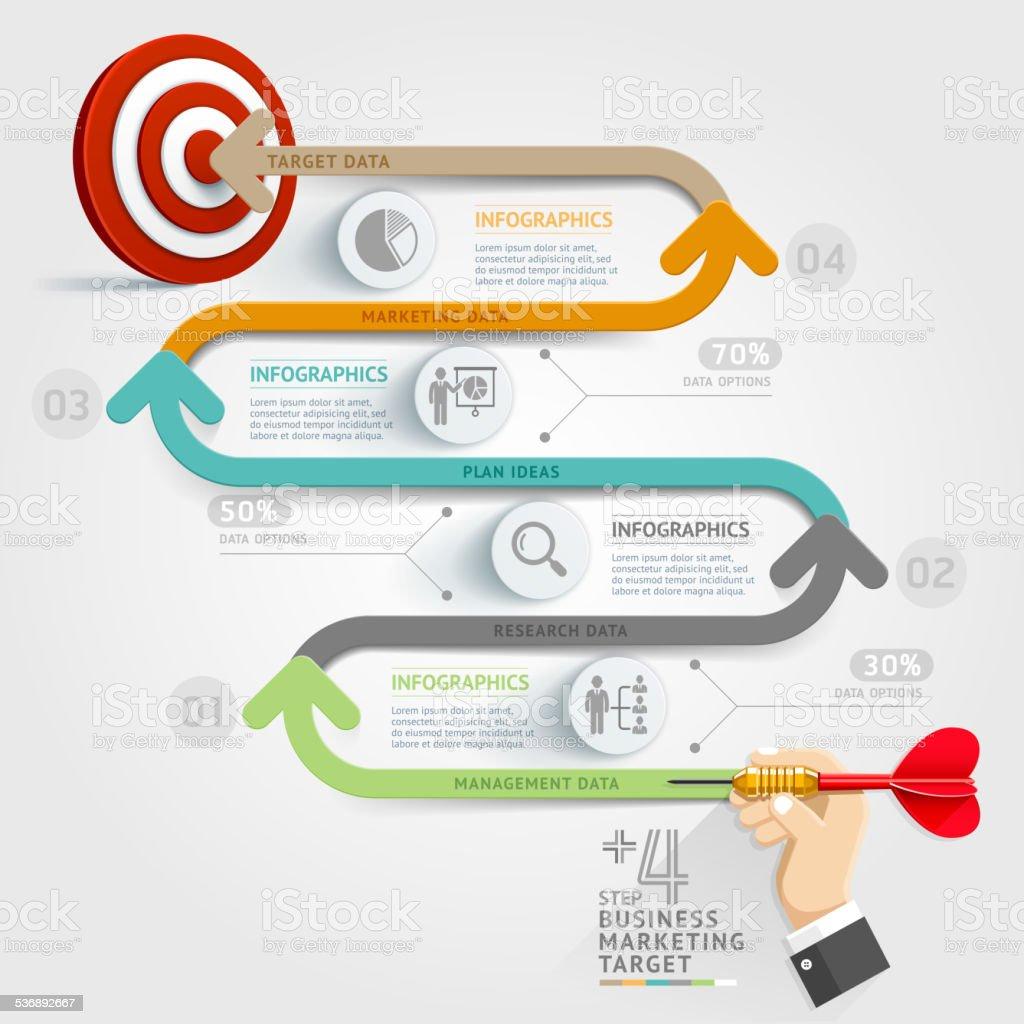 Business step target marketing dart idea. vector art illustration