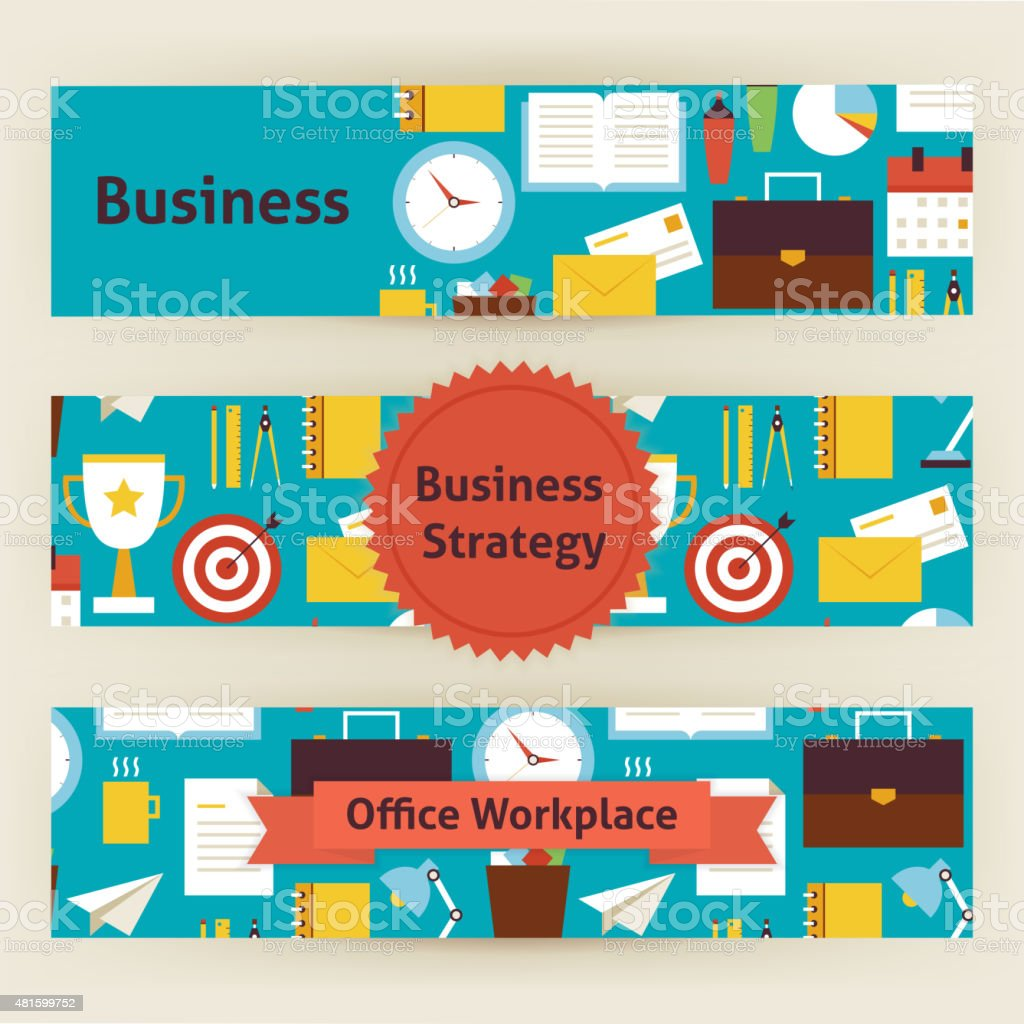 Business strategy and office workplace vector template banners s business strategy and office workplace vector template banners s royalty free business strategy and office stopboris Gallery