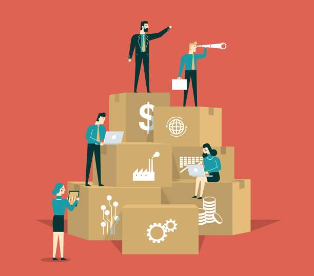 illustrazioni stock, clip art, cartoni animati e icone di tendenza di strategia aziendale - uomini d'affari - organizzazione concetto