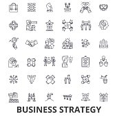 Business strategy, business plan, business, strategy concept, marketing, vision line icons. Editable strokes. Flat design vector illustration symbol concept. Linear signs isolated on white background