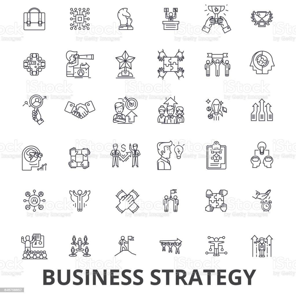 Business strategy, business plan, business, strategy concept, marketing, vision line icons. Editable strokes. Flat design vector illustration symbol concept. Linear signs isolated vector art illustration
