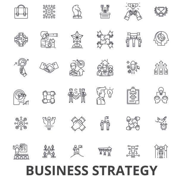 business strategy, business plan, business, strategy concept, marketing, vision line icons. editable strokes. flat design vector illustration symbol concept. linear signs isolated - mieszkanie komunalne stock illustrations