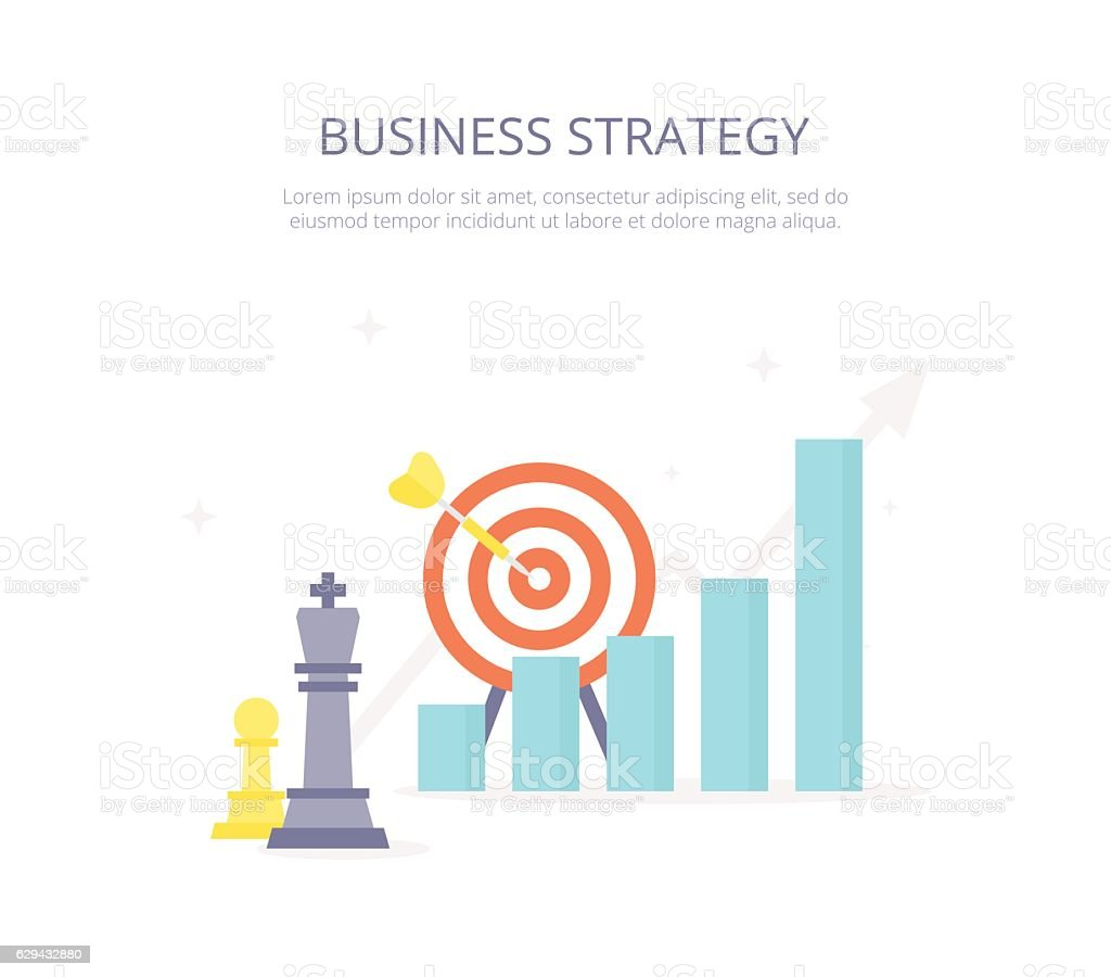 Business strategy. Chess king, target, arrow, growth arrows icons set vector art illustration