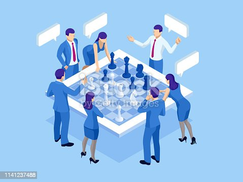Business strategy concept. Isometric businessmen and women playing chess game reaching to plan strategy for success. Achieving goals business strategy for win, management or leadership