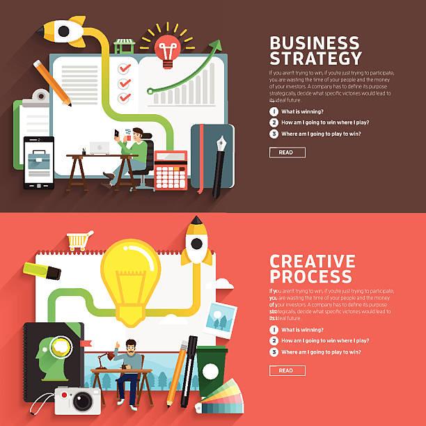 business-strategie & kreativen prozess - reisebüro stock-grafiken, -clipart, -cartoons und -symbole