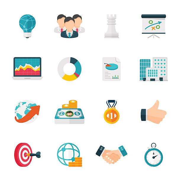ビジネス戦略のアイコンセット/フラットデザインアイコンを - フラットデザインのアイコン点のイラスト素材/クリップアート素材/マンガ素材/アイコン素材