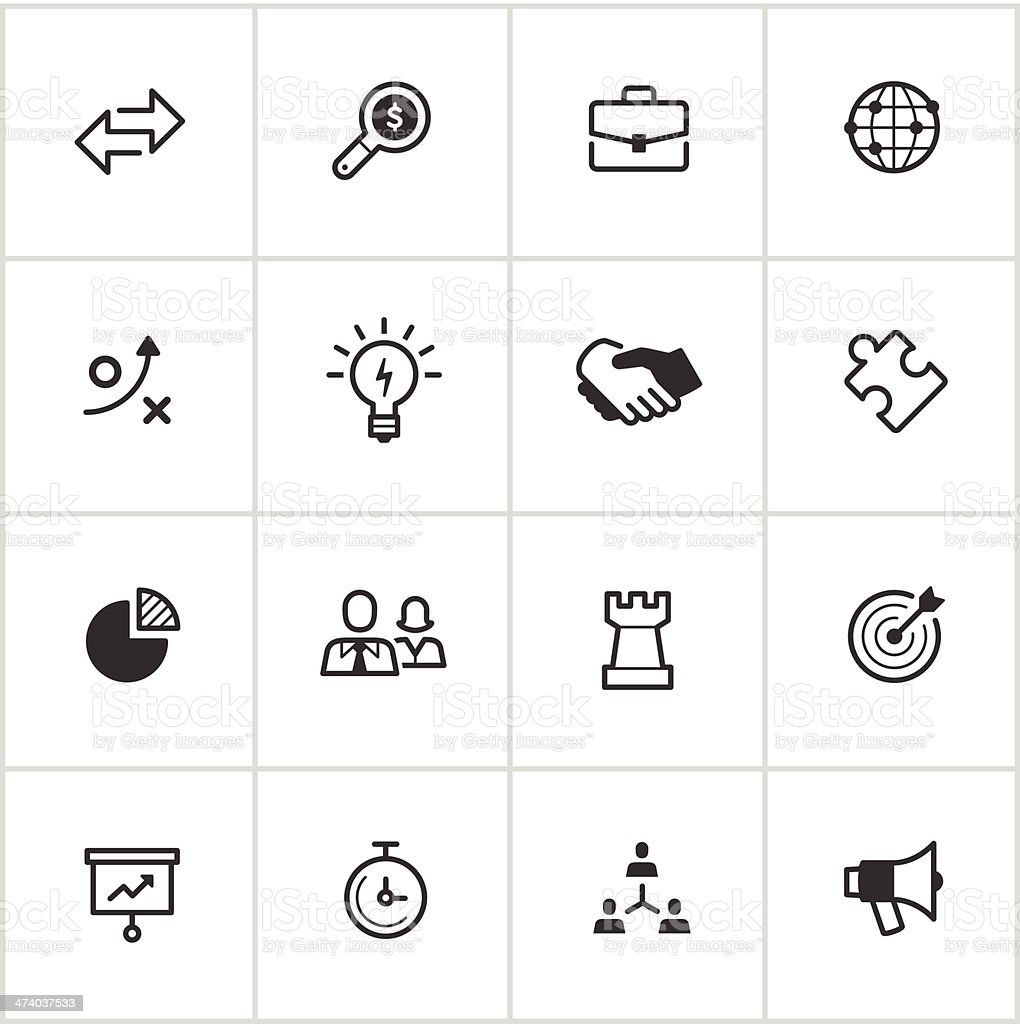Business Strategy Icons — Inky Series vector art illustration