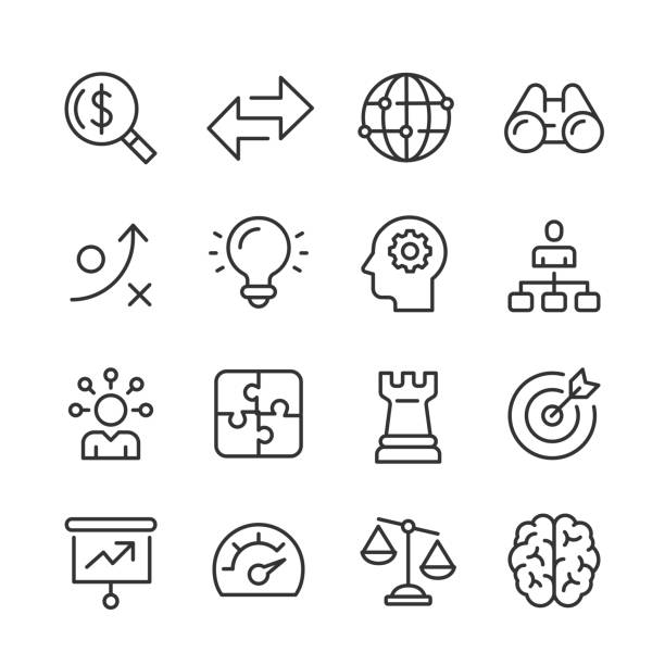 Business Strategy Icons — Monoline Series Vector outline icon set appropriate for web and print applications. Designed in 48 x 48 pixel square with 2px editable stroke. Pixel perfect. decisions stock illustrations