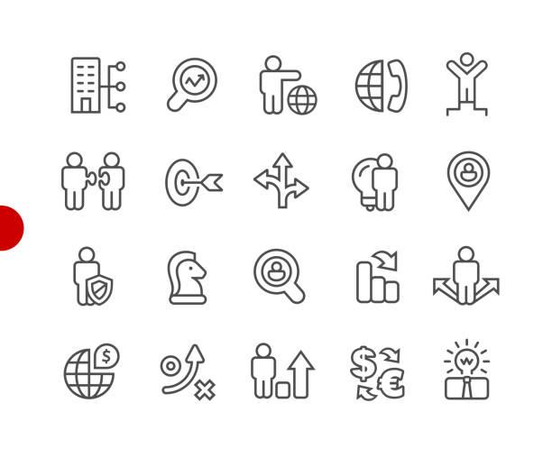 ビジネス戦略のアイコン//レッド ポイント シリーズ - 金融と経済点のイラスト素材/クリップアート素材/マンガ素材/アイコン素材