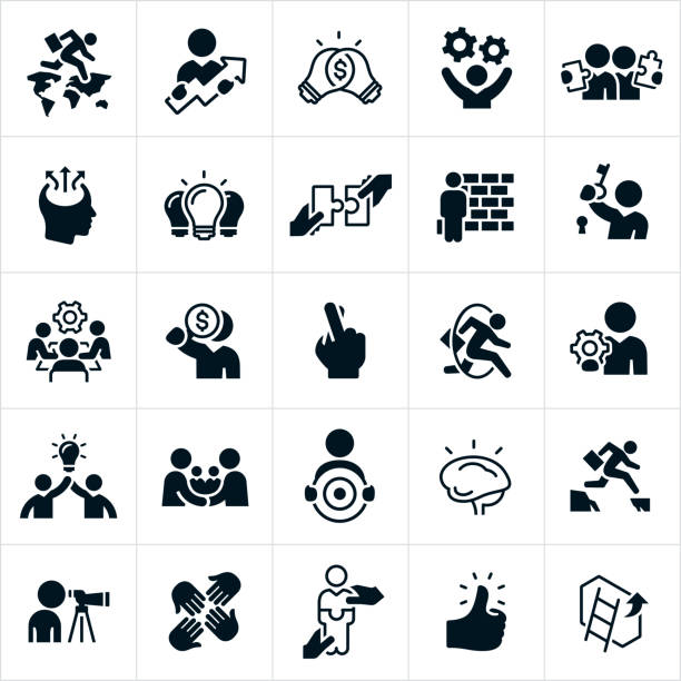 Business Strategy Icons A set of business strategy icons. They include business people, business men, a business person jumping from continent to continent, business man with ideas flowing from his head, light bulb, two light bulbs joined together, a brick wall, gear cogs, business people holding puzzle pieces, business person jumping through a hoop, business people shaking hands, a business person jumping over a gap, a thumbs up and a ladder against a wall to name a few. And some of the themes and concepts that they symbolize include business success, business strategy, innovation, accomplishments, achievement, ideas, creativity, solutions, obstacles, overcoming obstacles, team effort, victory, bridging the gap, unlocking potential, unlocking ideas, the missing piece to a puzzle and business collaboration to name just a few. wall building feature stock illustrations