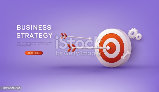 istock Business strategy. Landing page template. Business analysis, content strategy and management concept. 3D Vector Illustrations. 1324850745