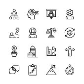 16 Business Strategy Line Icons