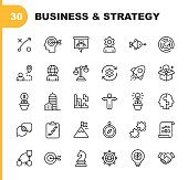 30 Business Strategy Line Icons
