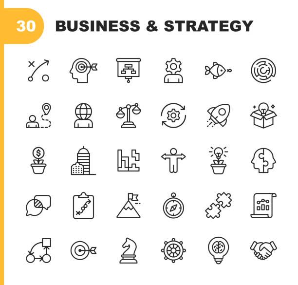 ilustraciones, imágenes clip art, dibujos animados e iconos de stock de iconos de línea de estrategia de negocio. trazo editable. pixel perfect. para móvil y web. contiene iconos como lluvia de ideas, estrategia de negocio, consultoría de negocios, comunicación, desarrollo corporativo. - desafío