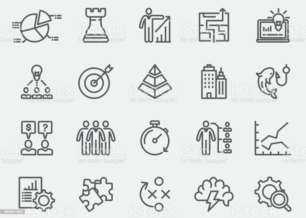 Business & Strategy Line Icons | EPS 10 vector art illustration