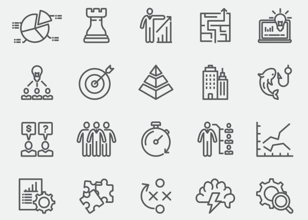 business & strategy line icons | eps 10 - arrow vector icon set stock illustrations, clip art, cartoons, & icons