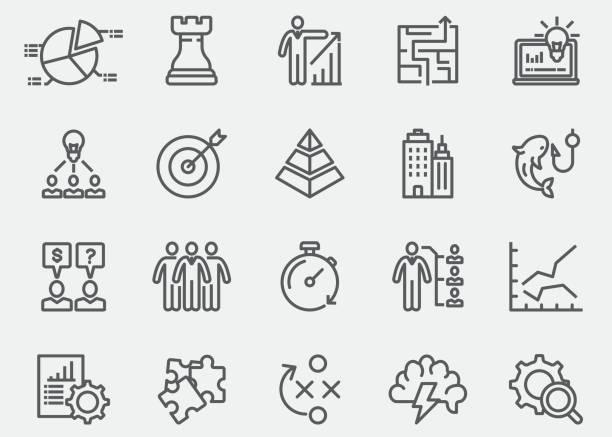 ビジネス ・戦略ラインのアイコン |eps 10 - 研究のインフォグラフィック点のイラスト素材/クリップアート素材/マンガ素材/アイコン素材