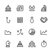 Business Strategy - outline style vector icons