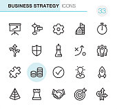 20 Outline Style - Black line - Pixel Perfect icons / Set #33 Business Strategy / Icons are designed in 48x48pх square, outline stroke 2px.