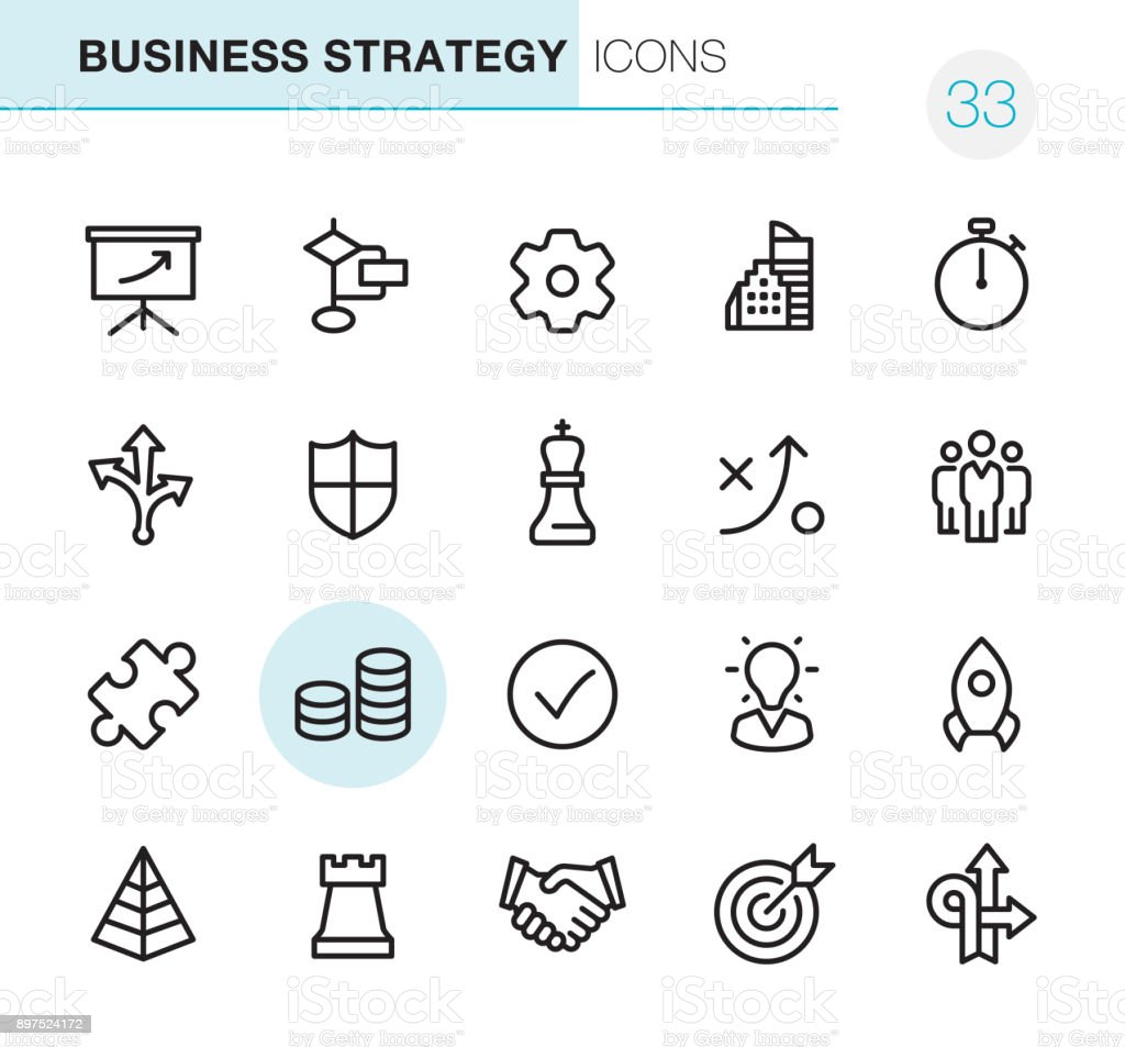Business Strategy - Pixel Perfect icons vector art illustration