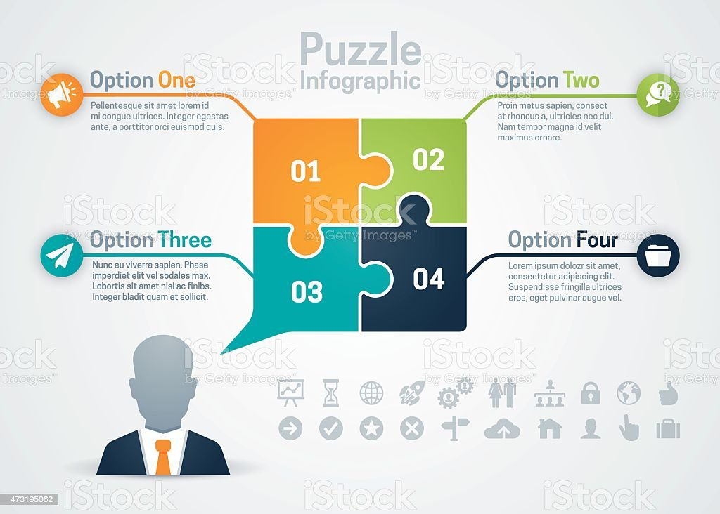 business strategy puzzle infographic stock illustration