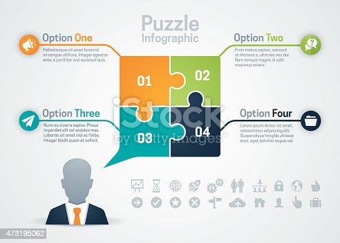 Business puzzle speech bubble infographic with four pieces or options, space for your text and extra icons and symbols. EPS 10 file. Transparency effects used on highlight elements.
