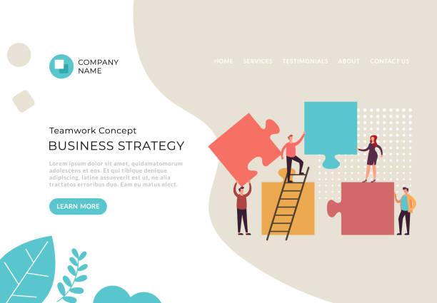 Business strategy puzzle vision progress concept. Vector flat cartoon graphic design illustration vector art illustration