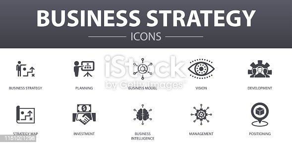 Business strategy simple concept icons set. Contains such icons as planning, business model, vision, development and more, can be used for web, logo, UI/UX