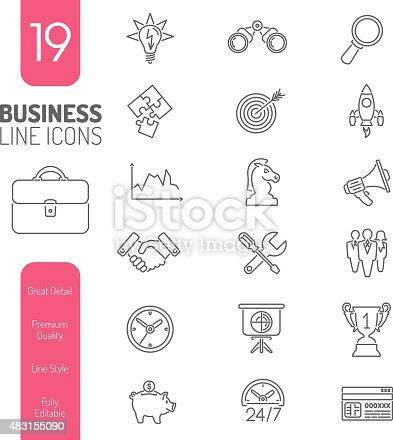 Business Thin Lines Web Icon Set for Flyer, Poster, Web Site Like Finance, Strategy, Idea, Research, Teamwork, Success.