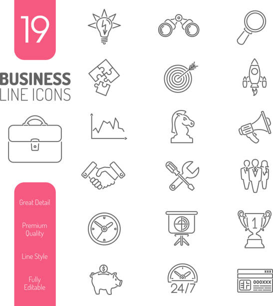 Business Strategy Thin Lines Web Icon Set Vector Art Illustration