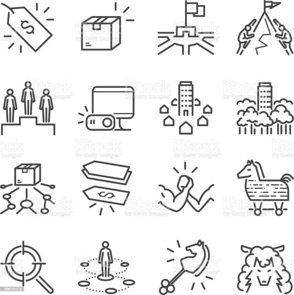 Business strategy vector line icon set. Included the icons as strategy, competitor, product, price and more. vector art illustration